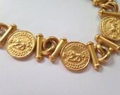 Vintage Lion Necklace, Vintage Talbot's Gold Tone Choker, Talbot's Necklace, 16 inch Choker, Gold Lion Coins, Lion Choker, Gold Lions
