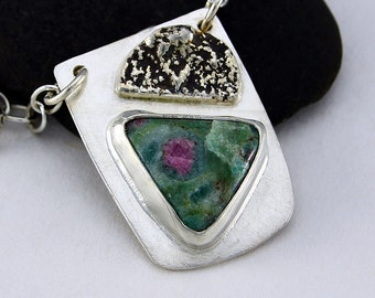 Handcrafted Sterling Silver Ruby in Fuschite Pendant Rose Green OOAK Organic Unique Modern Abstract Design Artisan Jewelry 8649536510615