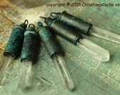 Brass Bullet Shell Casing with Quartz Crystal - 22 caliber verdigris patina -  upcycled recycled charm or pendant - 1CB-GP