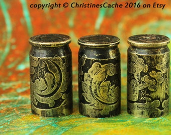 3 - 9mm Short Etched Bullet Shell Casings from Colorado..(380 Auto) for bead caps, pendants, earrings, rustic, steampunk, - 3-9m-BES