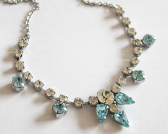 Vintage light blue crystal necklace. Blue rhinestone necklace