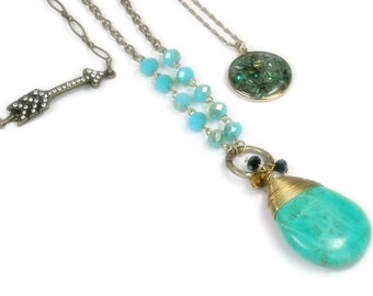 Bohemian Jewelry, Layered Chains and Charms Necklace, Turquoise, Layered Necklace, Multistrand, Set of 3, Boho, Arrow, Gemstone Pendant