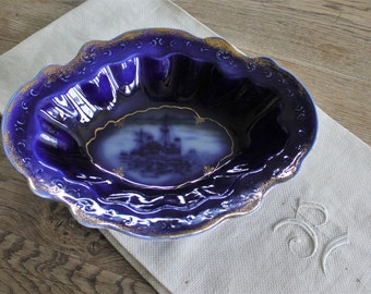 Antique English  Flow Blue Serving Bowl with USS Maine