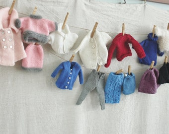 Vintage Hand Knit Doll Clothes 16 Pieces