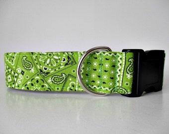 Wide Dog Collar, Bandana Dog Collar, Green Dog Collar, Side Release Dog Collar, Fabric Dog Collar, Made in Canada Dog Collars, Lime Green