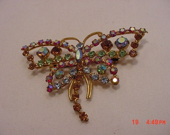 Vintage Rhinestone Butterfly Or Dragonfly Brooch  16 - 549