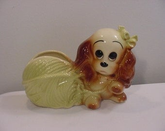 Vintage Sad Eyed Dog With Yarn Planter   15 - 51