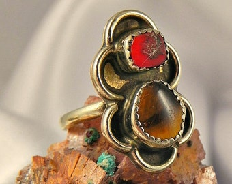 SALE Sterling Silver Tiger Eye and Coral Ring