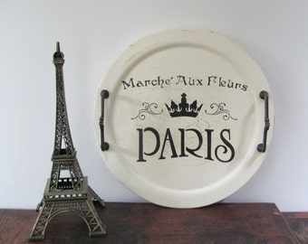 Stenciled Wood Tray, Vintage Cream Wood Tray, French Themed Stenciled Tray
