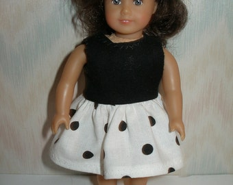 Dress for 6 1/2 inch dolls --  white and black dot print