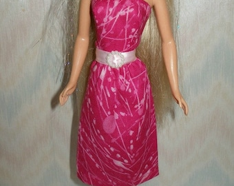 "Handmade 11.5"" fashion doll clothes - bright pink print dress"