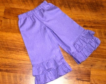 Girls Double Ruffle Linen Pants, Lavender, Size 5 and 7 left