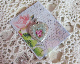 Vintage Hand painted Heart Charm-Pendant-Pink Roses-Aqua-Mint