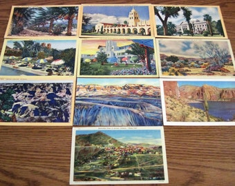 10 Vintage Colorized Watercolor Post Cards Featuring Sites In Arizonia Circa 1950's