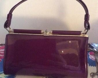 Vintage 1950s 1960s Handbag Purse Dark Purple Patent Vinyl