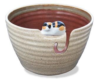 Cozy Cat Yarn Bowl, Calico Cat Yarn Bowl, Cat Yarn Bowl, Yarn Bowl