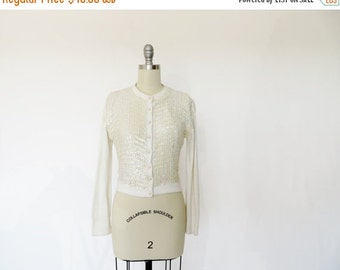 SALE Vintage Sweater / Vintage Cardigan / 1950s Sweater / Beaded Cardigan / 1960s Sweater / Orlon Sweater Beaded Sweater Rockabilly Pinup gi
