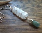 Selenite and Aquamarine pendant necklace, march birthstone jewelry