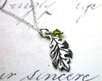 ON SALE The First Leaf of Autumn Necklace - Sterling Silver Leaf Pendant - Handmade with Swarovski Crystal and Sterling Silver