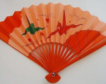 Tsuru, Crane Little Japanese Fan.70s