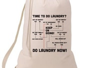Grad Gift Time To Do The Laundry Flow Chart Laundry Bag, Humorous Laundry Bag, College Hamper, College Student Gift- Graduation Gift- MCInc