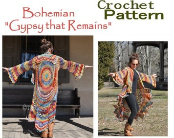Bohemian Hippie Sweater Crochet PATTERN-- Gypsy that Remains- Stevie Nicks Style Bohemain Pattern Only