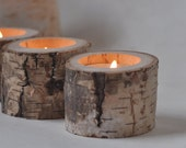 3 White Birch Candle Holders • Candle Holder
