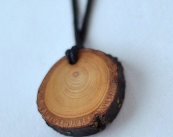 linden wood necklace •  rustic wood linden pendant