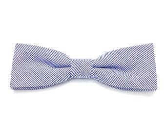 Skinny Bow tie Royal Blue Striped Clip-On Pre Tied Cotton Groomsmen Groom Adult Men Teen Boy Baby Kid Party Gift Wedding Birthday Gift