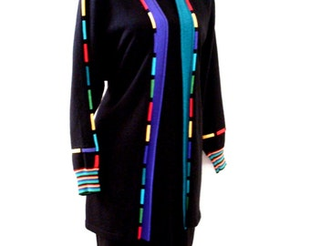 Vintage 80s Black Sweater Dress with Matching Coat by Antonella Preve - Black and Multi Avant Garde Sweater Dress Set - Medium to Large