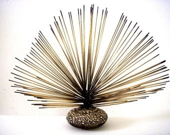 Vintage 70s Metal Spray Sculpture - Mid Century Modern Urchin Sculpture - Jere Era Brass Pom Sculpture - Minimalist Modernist Sculpture 15""