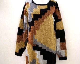 Vintage 80s Metallic Tunic Sweater or Mini Dress - Gold Bronze Silver Black Metallic Tunic Dress - Geometric 1980s Sweater - Size Large