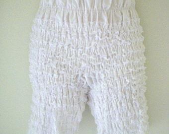 Vintage White Rumba Panties - White Lace Petti Pants - Long White Rumba Panty Bloomers - Shirred Rumba Bloomers  - Size Medium