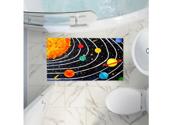 Solar system bath mat space themed decor for childrens by for Space themed bathroom accessories