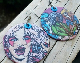 JEM and the Holograms - hand-painted Hexagon 80s earrings