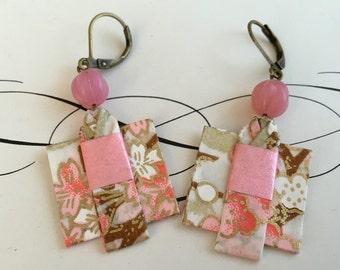 Origami Kimono Earrings- Pink and beige
