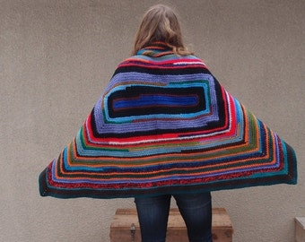 CLEARANCE SALE Upcycled Recycled Repurposed Afghan Blanket Shawl Poncho Cape Wrap Multicolored Stripes Boho Tribal Fashion