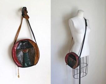 vintage leather handbag -  ALLIGATOR faux animal skin circle purse