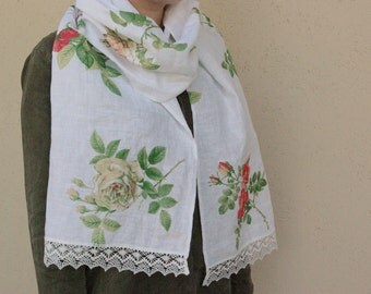 Scarf with roses white linen scarf with lace feminine wild rose women's shawl original gift