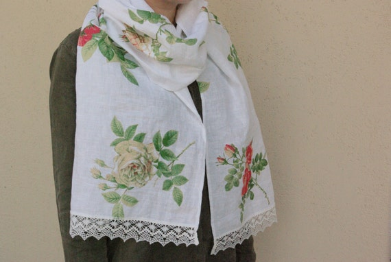 Fall scarf with roses, white linen scarf with lace, feminine wild rose women's shawl, gift for girlfriend