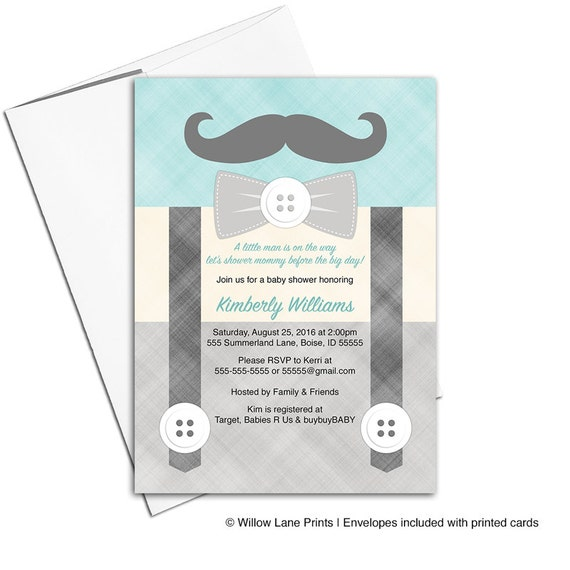 little man baby shower invitation for boys suspenders and mustache