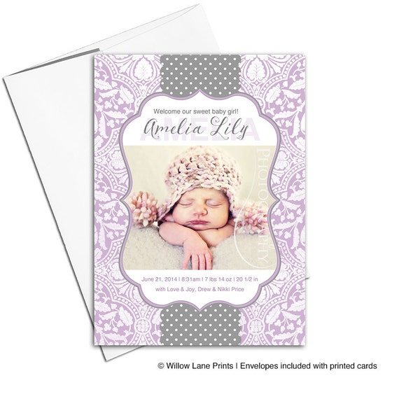 girl birth announcements cute baby announcements ideas purple
