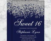 Sweet 16 Birthday Invitations - Quinceanera Invitation - Navy Blue Silver Sparkle Glitter Pattern - Guest & Return Addressing Available