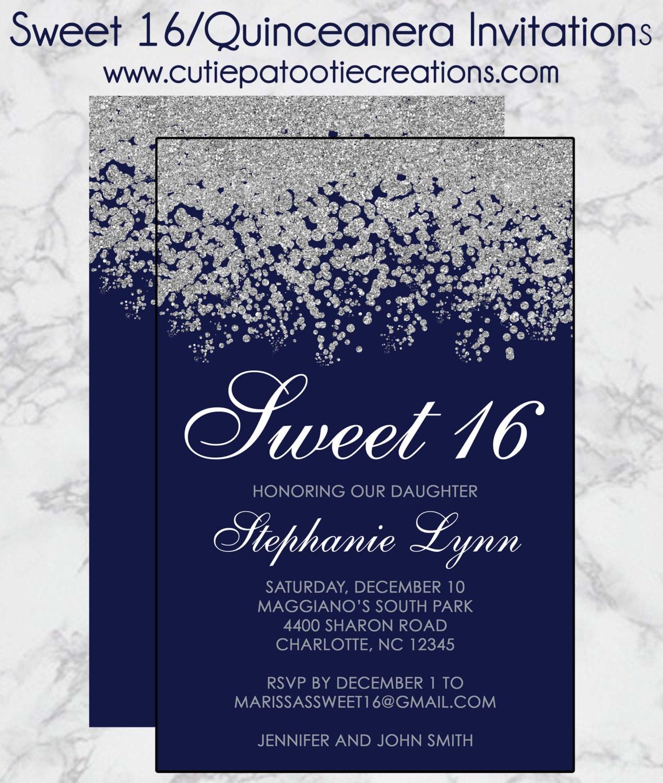 Sweet 16 Birthday Invitations Quinceanera Invitation Navy