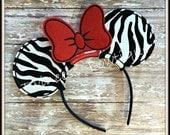 Zebra Minnie Mouse Ears Headband by Twincess Bowtique - CUSTOM