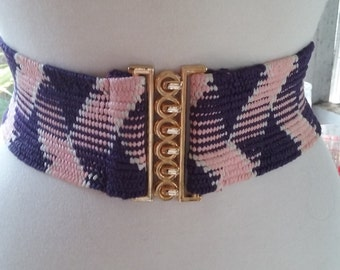 70s PINK & NAVY Stretch Belt--Firm Elastic--Gold Hardware--Mint Condition