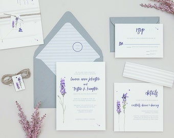 Rustic Lavender Wedding Invitations,Modern Floral Wedding Invites,Striped Purple Wedding Invitation, Boho Lavender Wedding Invitation Set
