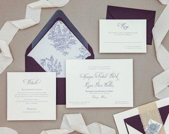Vintage Calligraphy Toile Wedding Invitation,Elegant French Calligraphy Wedding invitation,Wax Seal Wedding Invitation, Purple Wedding
