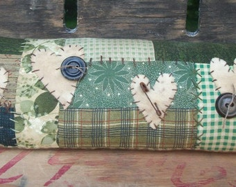 Country Primitive Green Patchwork Pillow