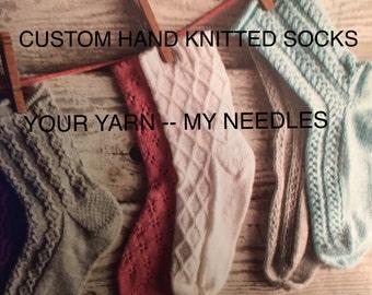 Women's  sizes -CUSTOM SOCK KNITTING - Hand Knitted Socks - Knitted Socks - Women's Knitted Socks - Sock Yarn - Girls Knitted Socks